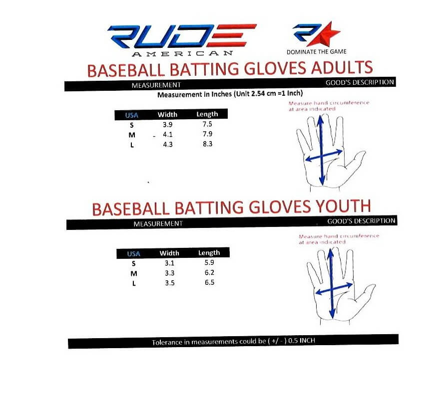Batting Glove Size Chart